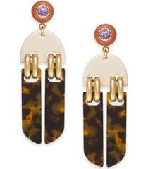 kate spade new york gold-tone crystal & tortoise-look statement earrings