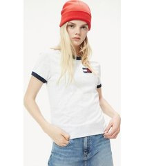 tommy hilfiger women's badge ringer t-shirt pale grey heather - xl