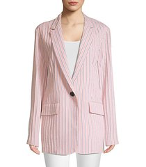 stripe twilll one-button blazer