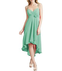 dislax spaghetti straps high low chiffon bridesmaid dresses mint us 18plus
