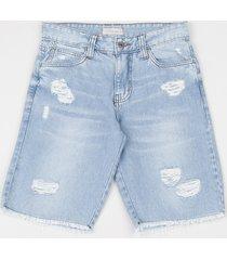 bermuda jeans juvenil reta destroyed com bolsos azul médio