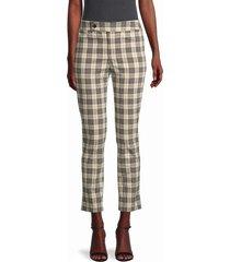 bailey 44 women's cropped cotton plaid pants - army - size 8