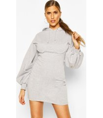corset detail hoody dress, grey marl
