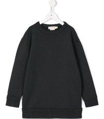 andorine frayed edge sweatshirt dress - grey