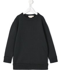 andorine frayed edge sweatshirt dress - grey