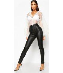 matte nepleren skinny fit broek met hoge taille, zwart
