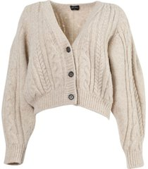 albion beige cropped cardigan sweater
