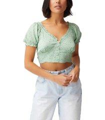 women's tesse tie back cropped tea blouse
