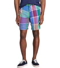 "polo ralph lauren classic fit 9.25"" madras linen shorts"