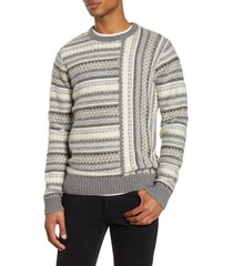 men's french connection regular fit graphic stripe sweater, size medium - grey