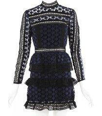 self portrait black blue star lace tiered long sleeve mini dress blue/black sz: xs