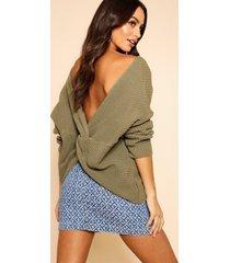 crop twist sweater, khaki