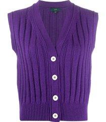 jejia sleeveless rib-knit cardigan - purple