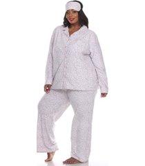 white mark plus size 3-piece pajama set