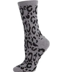 natori animal print socks, women's, grey natori