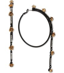 """betsey johnson extra large two-tone pave rose linear hoop earrings 4"""""""
