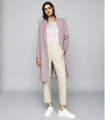 reiss eva - wool blend overcoat in pale lavender, womens, size 12