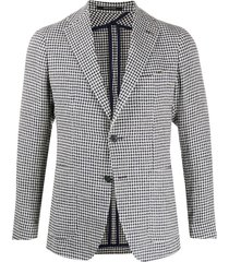 tagliatore vichy rustic tweed blazer - blue