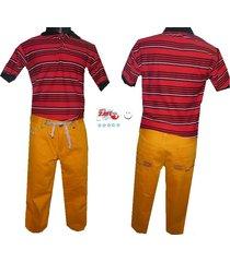 conjunto   camiseta polo   y pantalón  en drill