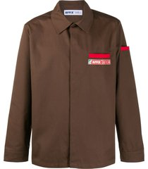 affix beach logo-patch shirt - brown
