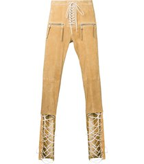 unravel project tie front trousers - brown
