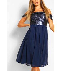 bridesmaid occasion sequin bardot midi dress, navy