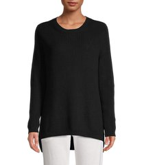 525 america women's ribbed cotton high-low sweater - black - size xs