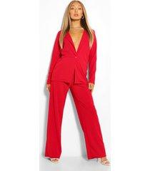 oversized blazer & wide leg trouser suit set, red