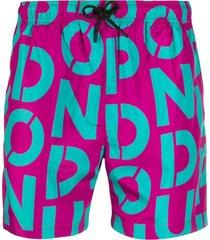 dondup logo print swim shorts - rosa