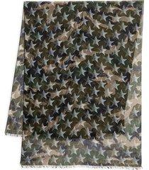 valentino garavani men's camo & star-print cashmere & silk scarf - light denim
