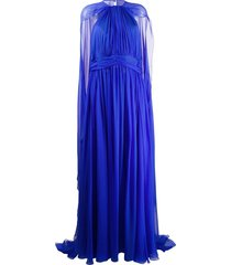 zuhair murad cape detail evening dress - blue
