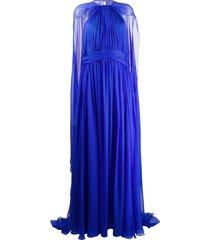 zuhair murad cape detail evening dress - blue