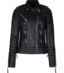 new black leather jacket women quilted biker motorcycle slim fit all size