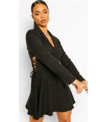 blazer jurk met korset veter taille detail, black