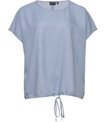 blouse plus round neck lyocell loose fit blouses short-sleeved blå zizzi
