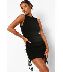 geplooide fijn gebreide jurk, black