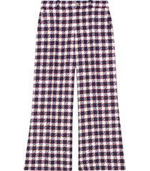 gucci checked tweed culotte trousers - blue