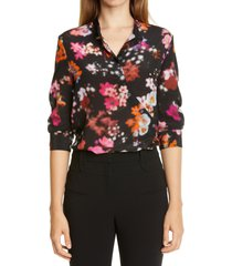 women's altuzarra floral print asymmetrical button silk shirt