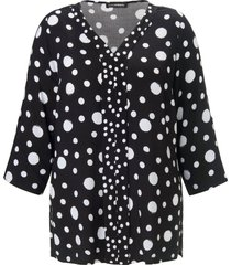 blouse met bandje aan de 3/4-mouwen van doris streich zwart