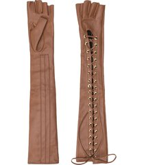 manokhi mano long leather gloves - brown