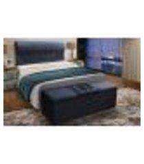cabeceira com calçadeira baú casal 140cm para cama box vitória suede azul - ds móveis