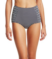 striped high waisted bikini bottom