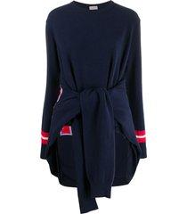 mrz waist-tied draped jumper - blue
