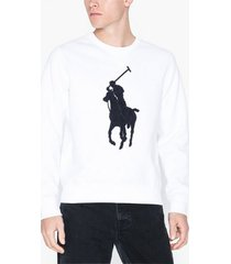polo ralph lauren long sleeve double knit tröjor white/blue