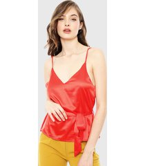 blusa ellus pabilos satin rojo - calce ajustado