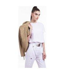 t-shirt de malha decote redondo manga curta lisa branco - gg