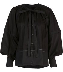 proenza schouler l/s gathered top-cotton voile - black