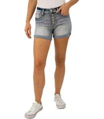 indigo rein juniors' distressed cuffed denim shorts