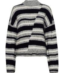 chunky mismatched stripe crew stickad tröja grå superdry