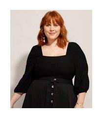 blusa plus size com recortes manga bufante decote reto preta